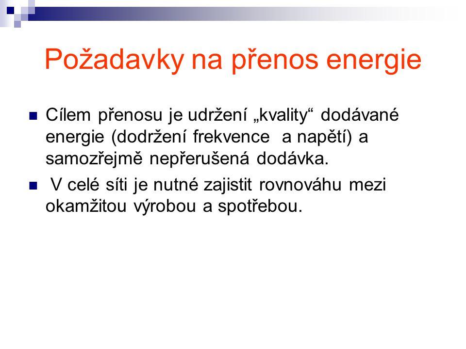 """Požadavky na přenos energie Cílem přenosu je udržení """"kvality dodávané energie (dodržení frekvence a napětí) a samozřejmě nepřerušená dodávka."""
