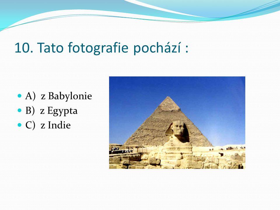 10. Tato fotografie pochází : A) z Babylonie B) z Egypta C) z Indie