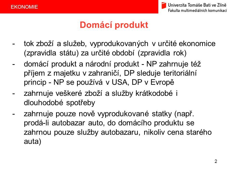 EKONOMIE 3 -čistý domácí produkt = hrubý domácí produkt - obnovovací investice Pokud by životnost určitého zboží (např.