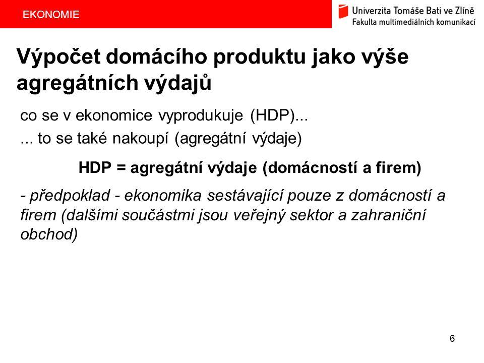 EKONOMIE 7 firmy domácnosti mzdy, nájemné, úroky, dividendy - 1300 HDP (mld.