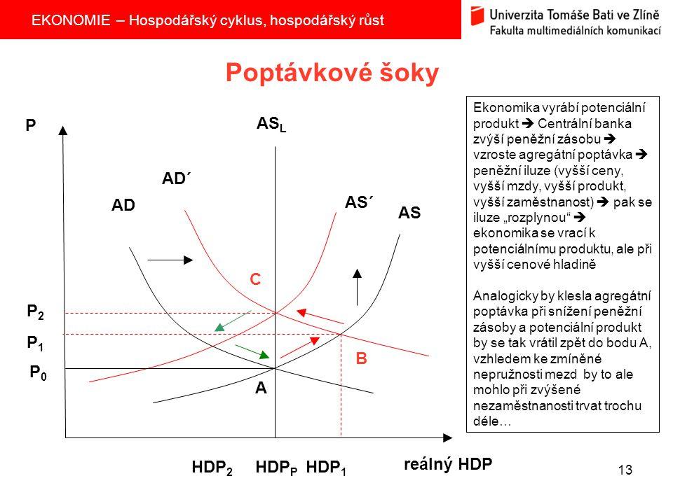 EKONOMIE – Hospodářský cyklus, hospodářský růst 13 Poptávkové šoky AS AS L P reálný HDP P2P2 P1P1 P0P0 HDP 2 HDP P HDP 1 AS´ AD´ AD A B C Ekonomika vy