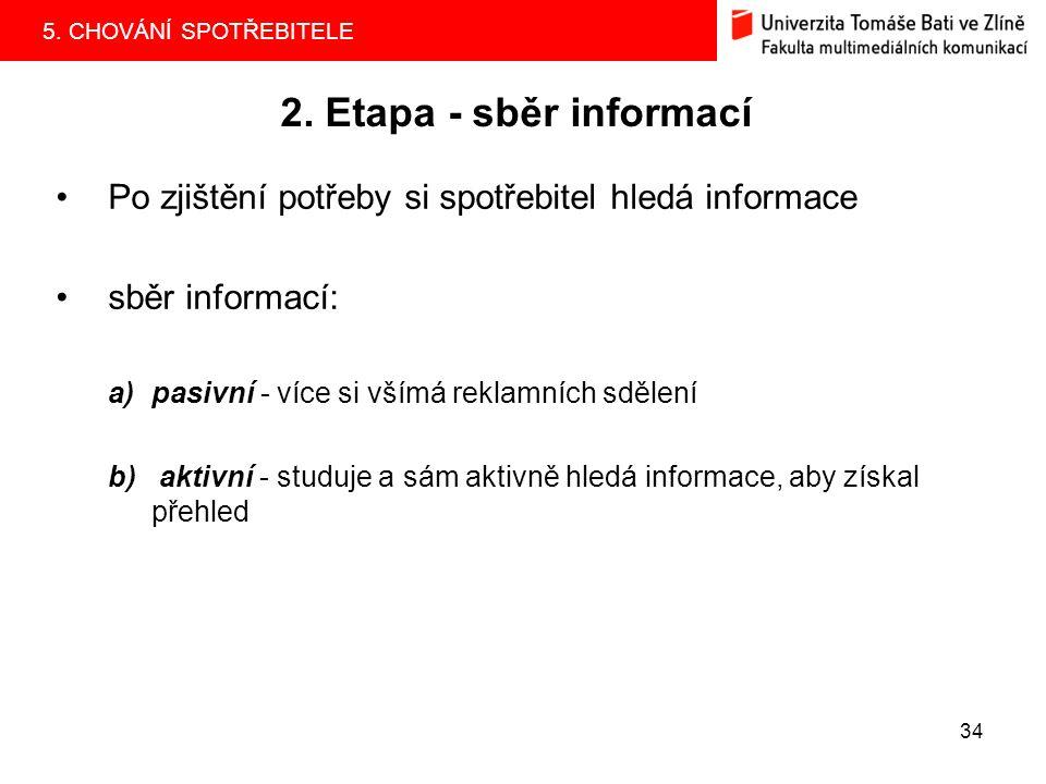 5. CHOVÁNÍ SPOTŘEBITELE 34 2. Etapa - sběr informací Po zjištění potřeby si spotřebitel hledá informace sběr informací: a)pasivní - více si všímá rekl