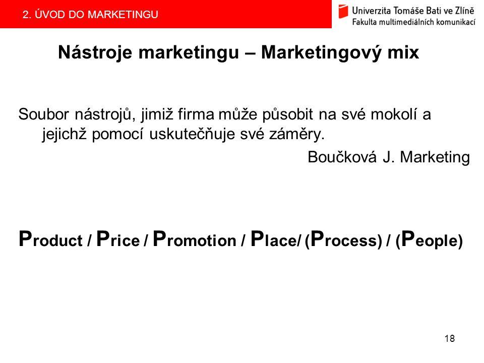 2. ÚVOD DO MARKETINGU 18 Nástroje marketingu – Marketingový mix Soubor nástrojů, jimiž firma může působit na své mokolí a jejichž pomocí uskutečňuje s