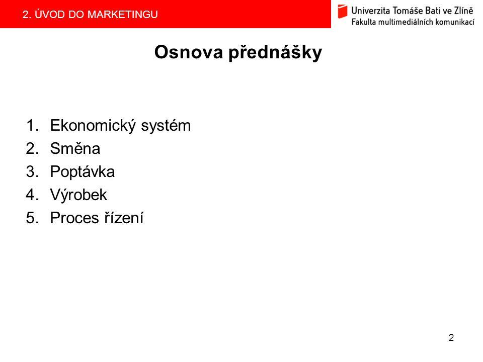 2. ÚVOD DO MARKETINGU 2 Osnova přednášky 1.Ekonomický systém 2.Směna 3.Poptávka 4.Výrobek 5.Proces řízení