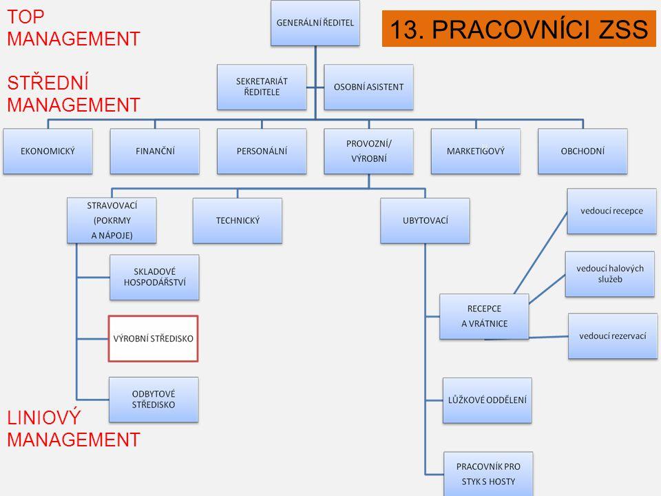 TOP MANAGEMENT STŘEDNÍ MANAGEMENT N LINIOVÝ MANAGEMENT LINIOVÝ MANAGEMENT 13. PRACOVNÍCI ZSS