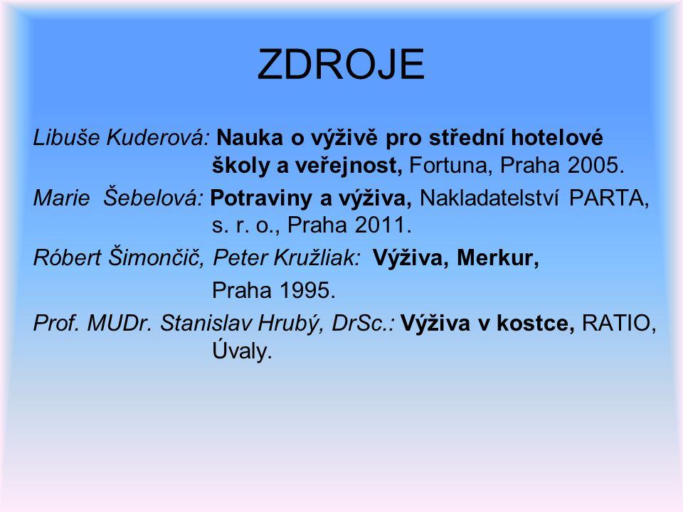 ZDROJE Libuše Kuderová: Nauka o výživě pro střední hotelové školy a veřejnost, Fortuna, Praha 2005. Marie Šebelová: Potraviny a výživa, Nakladatelství