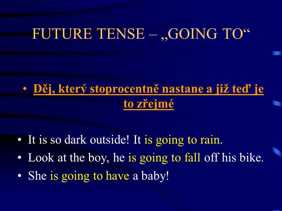 "FUTURE TENSE – ""GOING TO Děj naplánovaný do budoucna We are going to move to Prague next year."