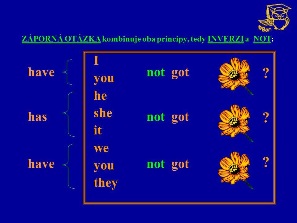 I you he she it we you they have not got has not got ZÁPORNÁ OTÁZKA kombinuje oba principy, tedy INVERZI a NOT: ? ? ?