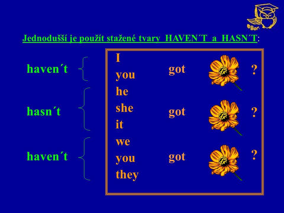 I you he she it we you they haven´t got hasn´t got Jednodušší je použít stažené tvary HAVEN´T a HASN´T: ? ? ?