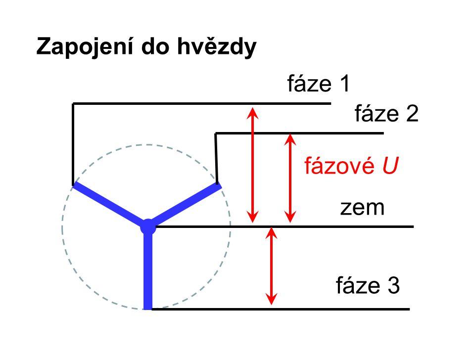Zapojení do hvězdy fáze 1 fáze 2 fáze 3 zem fázové U