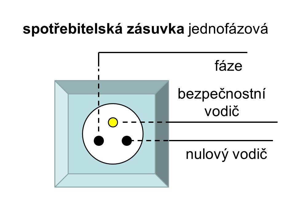 spotřebitelská zásuvka jednofázová bezpečnostní vodič nulový vodič fáze