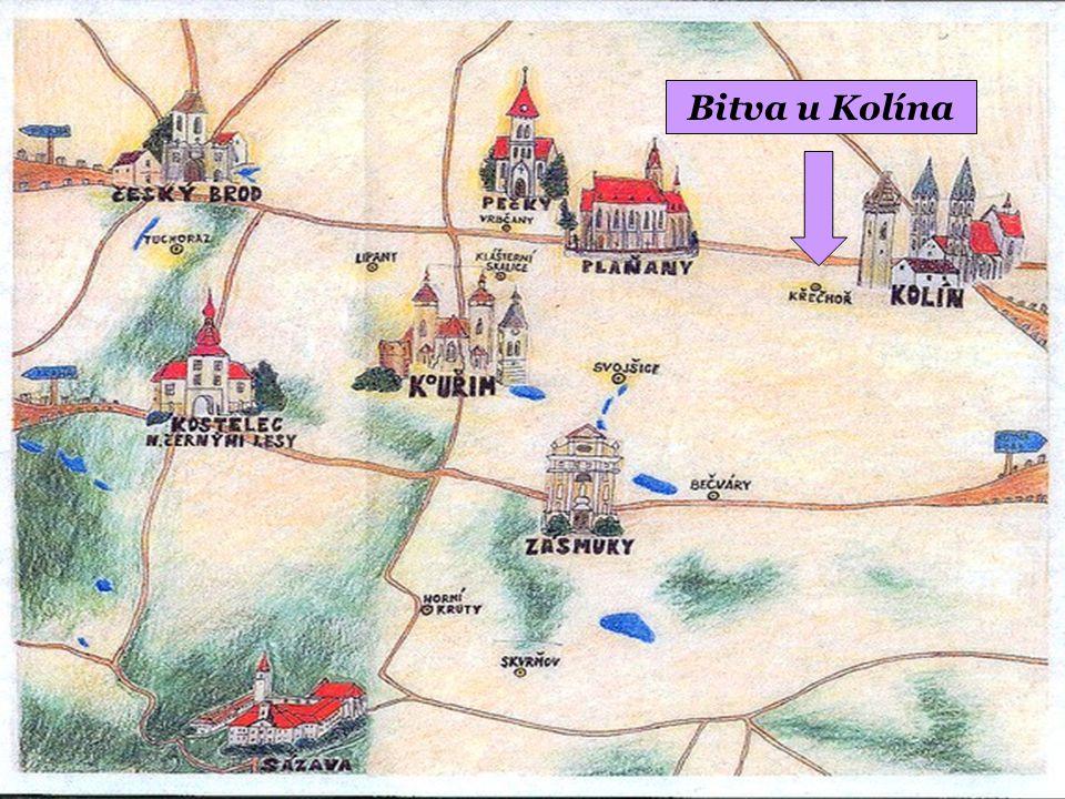 """Bitvu u Kolína připomínají dva památníky na dvou protilehlých návrších Padlo, bylo zraněno nebo zajato 8 114 císařských vojáků a 13 773 Prusů Bitva začala po poledni, nejdříve prohrávali císařští, kolem 19 hodin nastal nečekaný zvrat a pruská vojska byla zahnána O vítězství se zasloužili v rozhodné chvíli mladí vojáci """" holobrádci"""