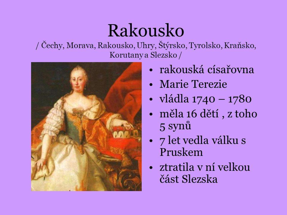 Rakousko / Čechy, Morava, Rakousko, Uhry, Štýrsko, Tyrolsko, Kraňsko, Korutany a Slezsko / rakouská císařovna Marie Terezie vládla 1740 – 1780 měla 16