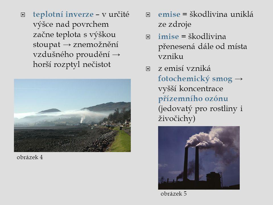  teplotní inverze – v určité výšce nad povrchem začne teplota s výškou stoupat → znemožnění vzdušného proudění → horší rozptyl nečistot  emise = ško