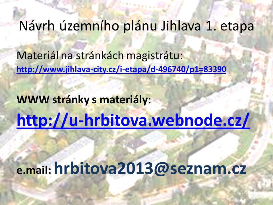 Návrh územního plánu Jihlava 1. etapa Materiál na stránkách magistrátu: http://www.jihlava-city.cz/i-etapa/d-496740/p1=83390 WWW stránky s materiály: