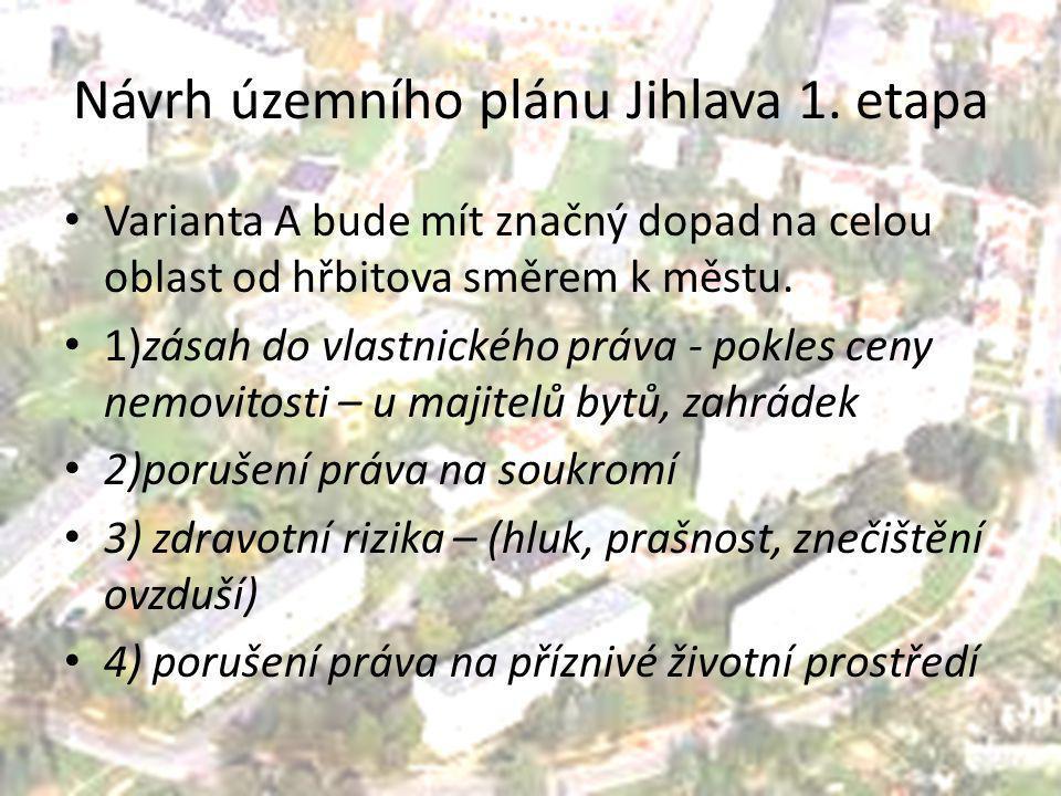 Návrh územního plánu Jihlava 1. etapa Varianta A bude mít značný dopad na celou oblast od hřbitova směrem k městu. 1)zásah do vlastnického práva - pok