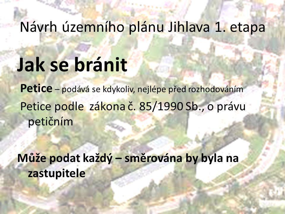 Návrh územního plánu Jihlava 1. etapa Jak se bránit Petice – podává se kdykoliv, nejlépe před rozhodováním Petice podle zákona č. 85/1990 Sb., o právu