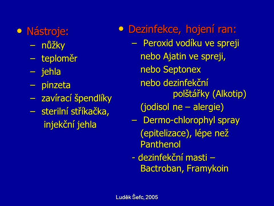 Luděk Šefc, 2005 Nástroje: Nástroje: – nůžky – teploměr – jehla – pinzeta – zavírací špendlíky – sterilní stříkačka, injekční jehla Dezinfekce, hojení