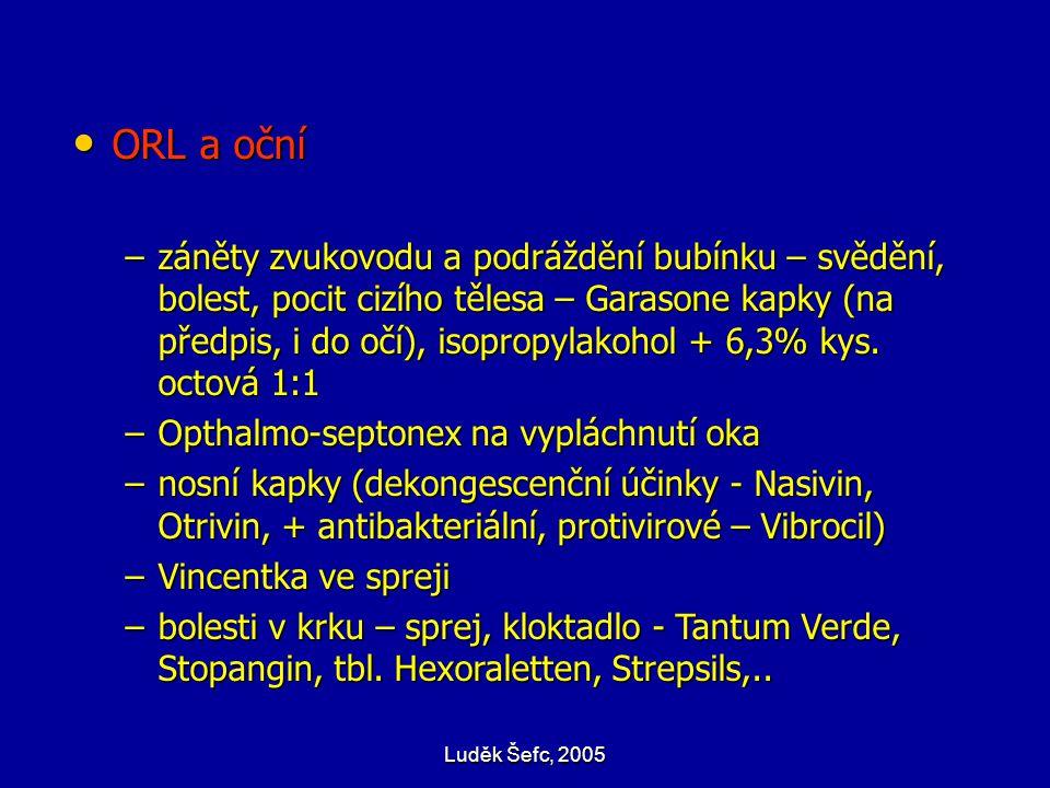 Luděk Šefc, 2005 ORL a oční ORL a oční –záněty zvukovodu a podráždění bubínku – svědění, bolest, pocit cizího tělesa – Garasone kapky (na předpis, i d
