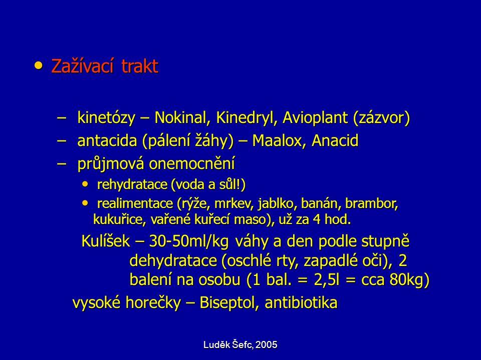 Luděk Šefc, 2005 Zažívací trakt Zažívací trakt – kinetózy – Nokinal, Kinedryl, Avioplant (zázvor) – antacida (pálení žáhy) – Maalox, Anacid – průjmová