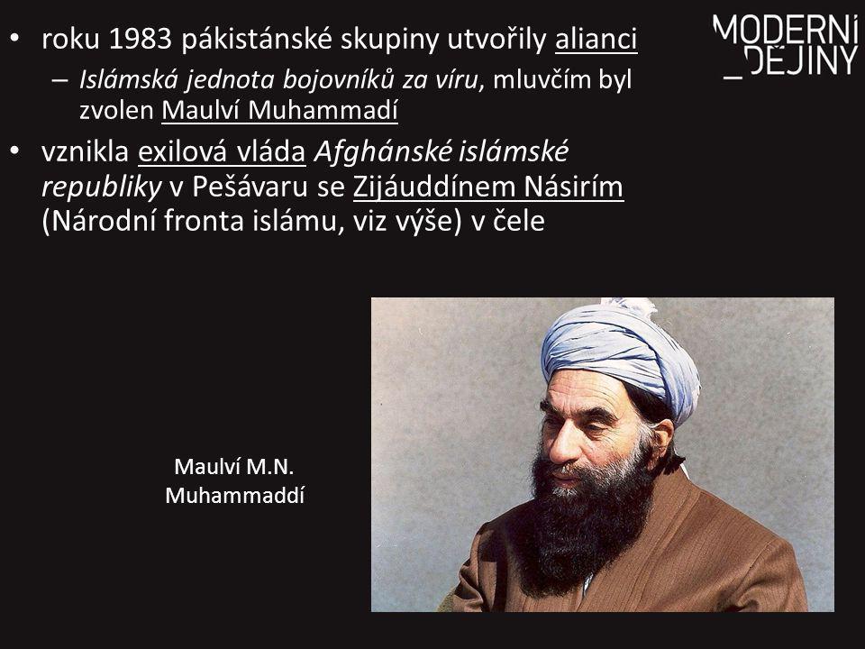 roku 1983 pákistánské skupiny utvořily alianci – Islámská jednota bojovníků za víru, mluvčím byl zvolen Maulví Muhammadí vznikla exilová vláda Afghánské islámské republiky v Pešávaru se Zijáuddínem Násirím (Národní fronta islámu, viz výše) v čele Maulví M.N.
