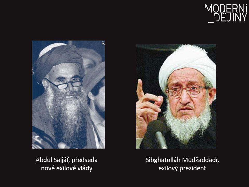 Abdul Sajjáf, předseda nové exilové vlády Sibghatulláh Mudžaddadí, exilový prezident