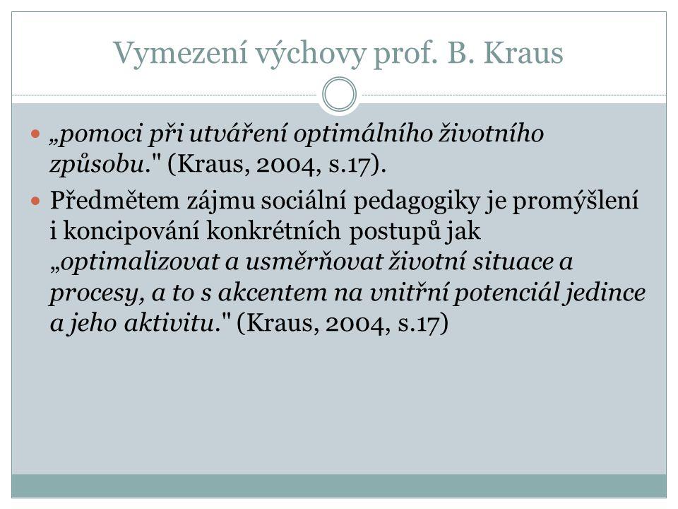 """Vymezení výchovy prof. B. Kraus """"pomoci při utváření optimálního životního způsobu."""