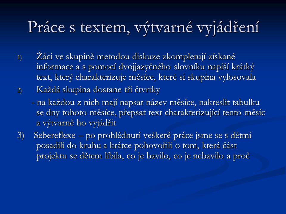 Práce s textem, výtvarné vyjádření 1) Žáci ve skupině metodou diskuze zkompletují získané informace a s pomocí dvojjazyčného slovníku napíší krátký te