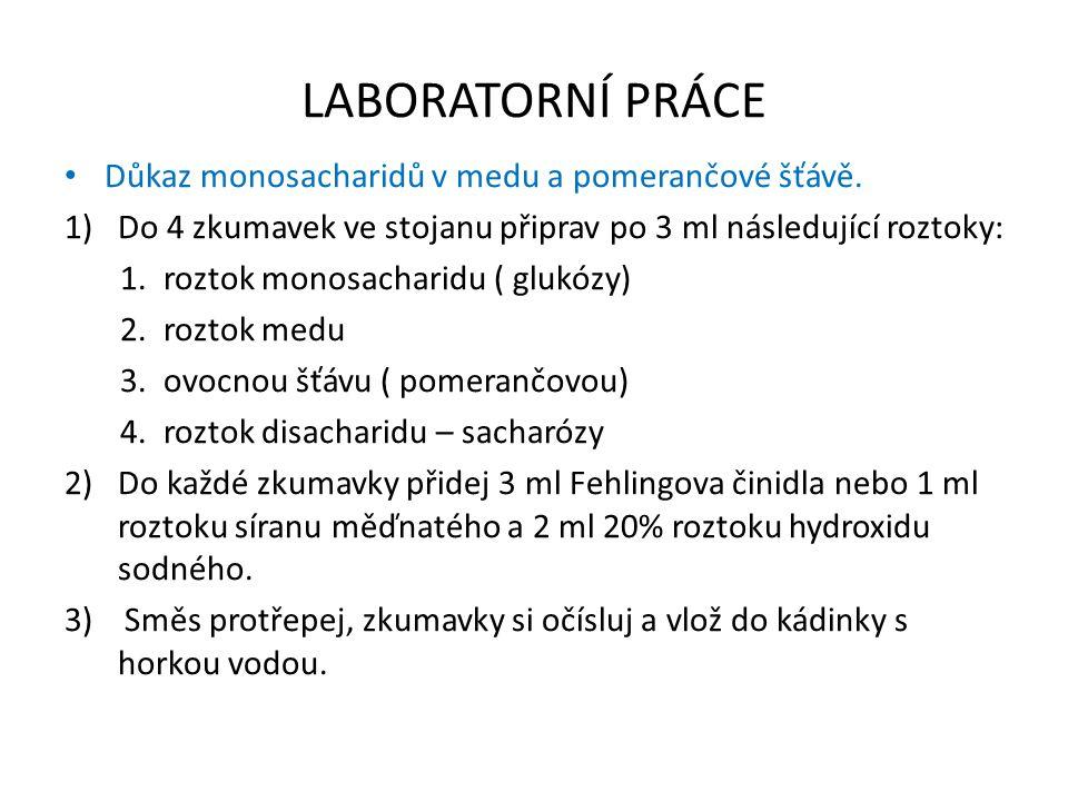 LABORATORNÍ PRÁCE Důkaz monosacharidů v medu a pomerančové šťávě. 1)Do 4 zkumavek ve stojanu připrav po 3 ml následující roztoky: 1. roztok monosachar