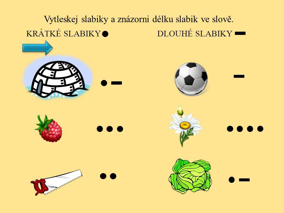 KRÁTKÉ SLABIKY DLOUHÉ SLABIKY Vytleskej slabiky a znázorni délku slabik ve slově.