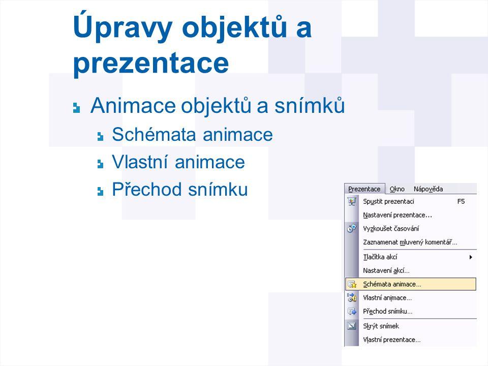 Úpravy objektů a prezentace Animace objektů a snímků Schémata animace Vlastní animace Přechod snímku