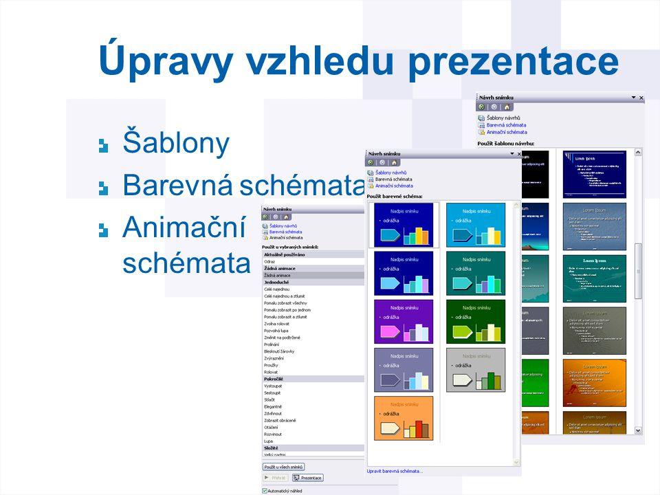 Úpravy vzhledu prezentace Šablony Barevná schémata Animační schémata