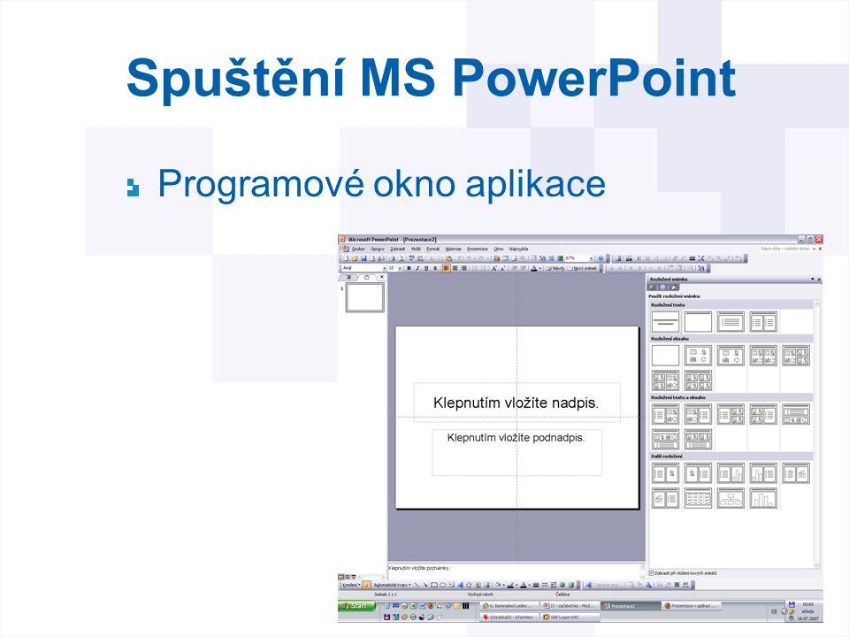 Spuštění MS PowerPoint Programové okno aplikace