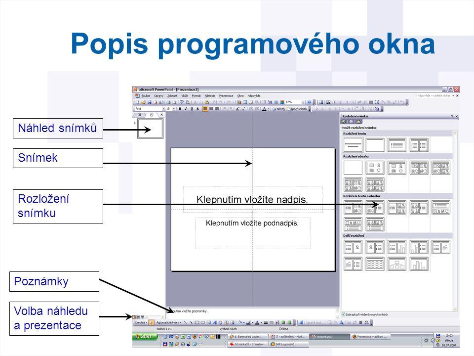 Úvodní snímek Obsahuje dvě základní textová pole Nadpis a podnadpis celé prezentace Všechny další snímky je nutné vložit a vybrat pro ně příslušné rozložení (formát)