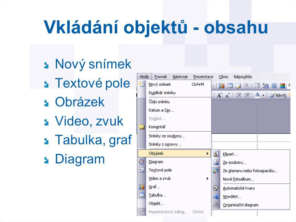 Vkládání objektů - obsahu Nový snímek Textové pole Obrázek Video, zvuk Tabulka, graf Diagram