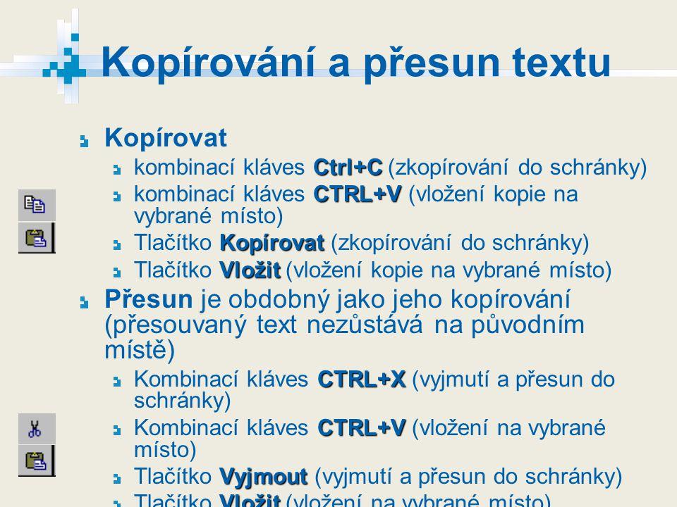 Kopírování a přesun textu Kopírovat Ctrl+C kombinací kláves Ctrl+C (zkopírování do schránky) CTRL+V kombinací kláves CTRL+V (vložení kopie na vybrané