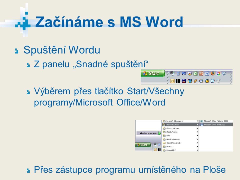 """Začínáme s MS Word Spuštění Wordu Z panelu """"Snadné spuštění"""" Výběrem přes tlačítko Start/Všechny programy/Microsoft Office/Word Přes zástupce programu"""