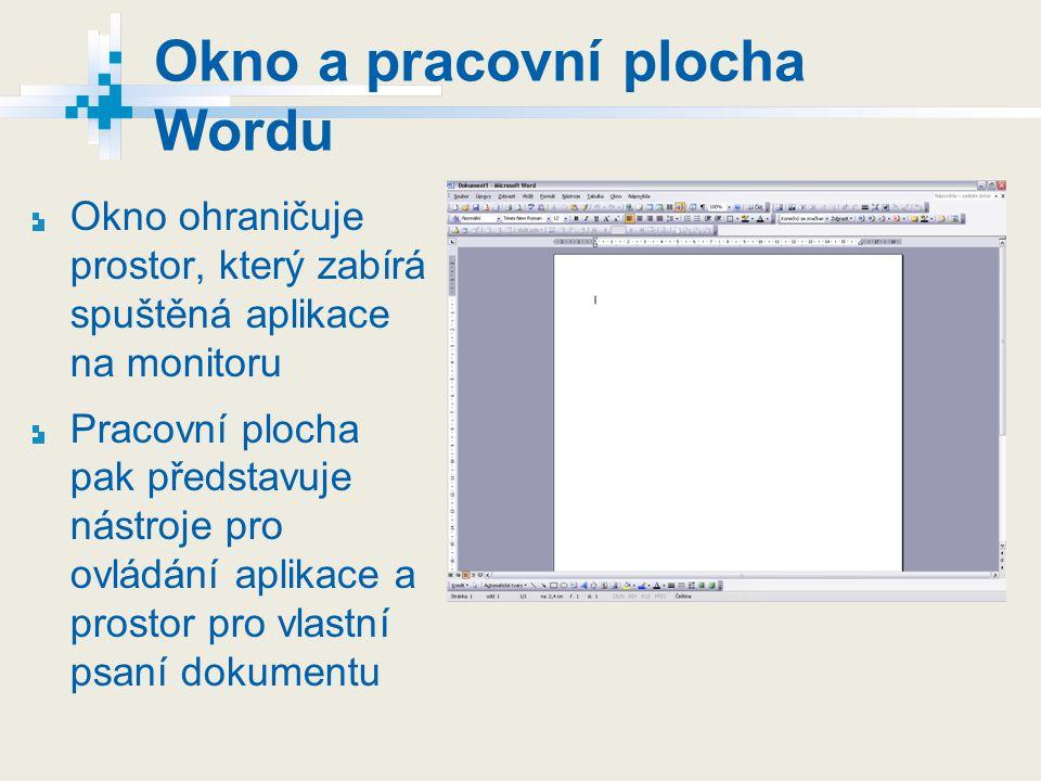 Okno a pracovní plocha Wordu Okno ohraničuje prostor, který zabírá spuštěná aplikace na monitoru Pracovní plocha pak představuje nástroje pro ovládání