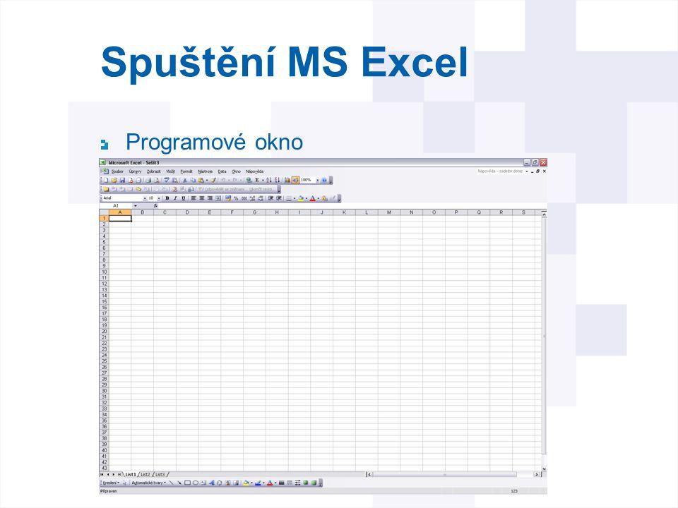 Spuštění MS Excel Po spuštění se objeví okno s otevřeným prázdným sešitem připraveným k práci Průsečík sloupce a řádku vytváří buňku přičemž každá buňka má jedinečnou adresu danou právě písmenem sloupce a číslem řádku