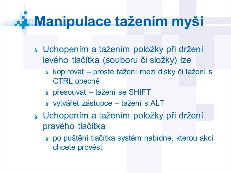 Manipulace tažením myši Uchopením a tažením položky při držení levého tlačítka (souboru či složky) lze kopírovat – prosté tažení mezi disky či tažení