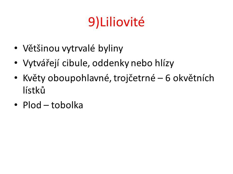 9)Liliovité Většinou vytrvalé byliny Vytvářejí cibule, oddenky nebo hlízy Květy oboupohlavné, trojčetrné – 6 okvětních lístků Plod – tobolka