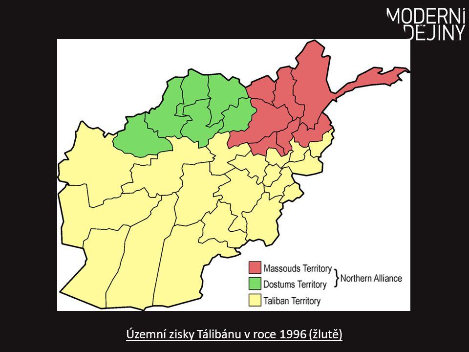 Územní zisky Tálibánu v roce 1996 (žlutě)