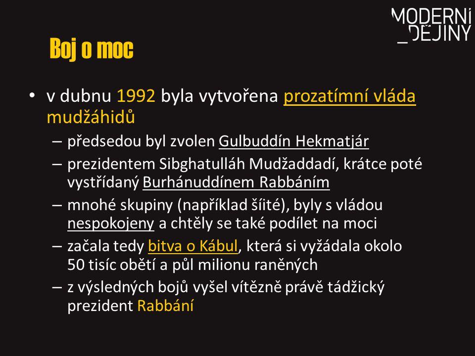 Boj o moc v dubnu 1992 byla vytvořena prozatímní vláda mudžáhidů – předsedou byl zvolen Gulbuddín Hekmatjár – prezidentem Sibghatulláh Mudžaddadí, krá