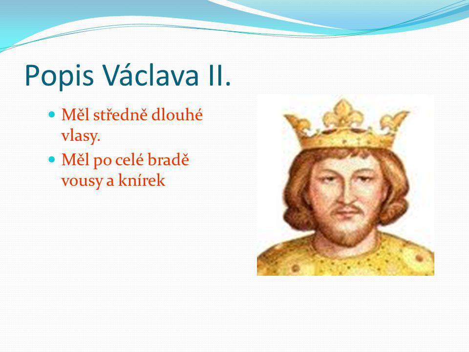 Popis Václava II. Měl středně dlouhé vlasy. Měl po celé bradě vousy a knírek