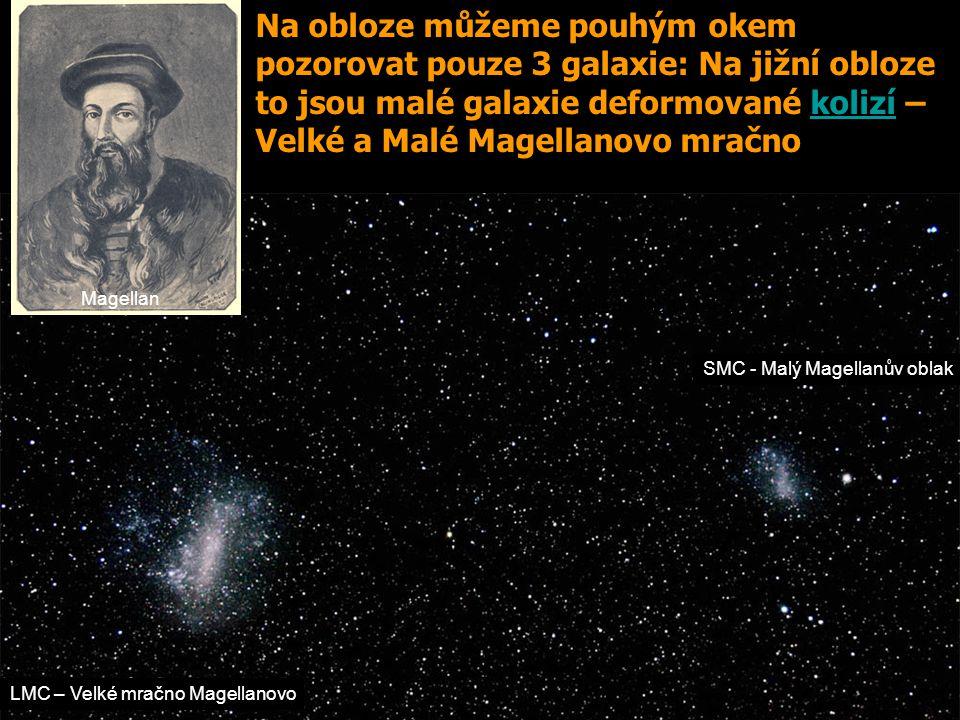 SMC - Malý Magellanův oblak LMC – Velké mračno Magellanovo Desliens' Map - 1566 Magellan Na obloze můžeme pouhým okem pozorovat pouze 3 galaxie: Na ji