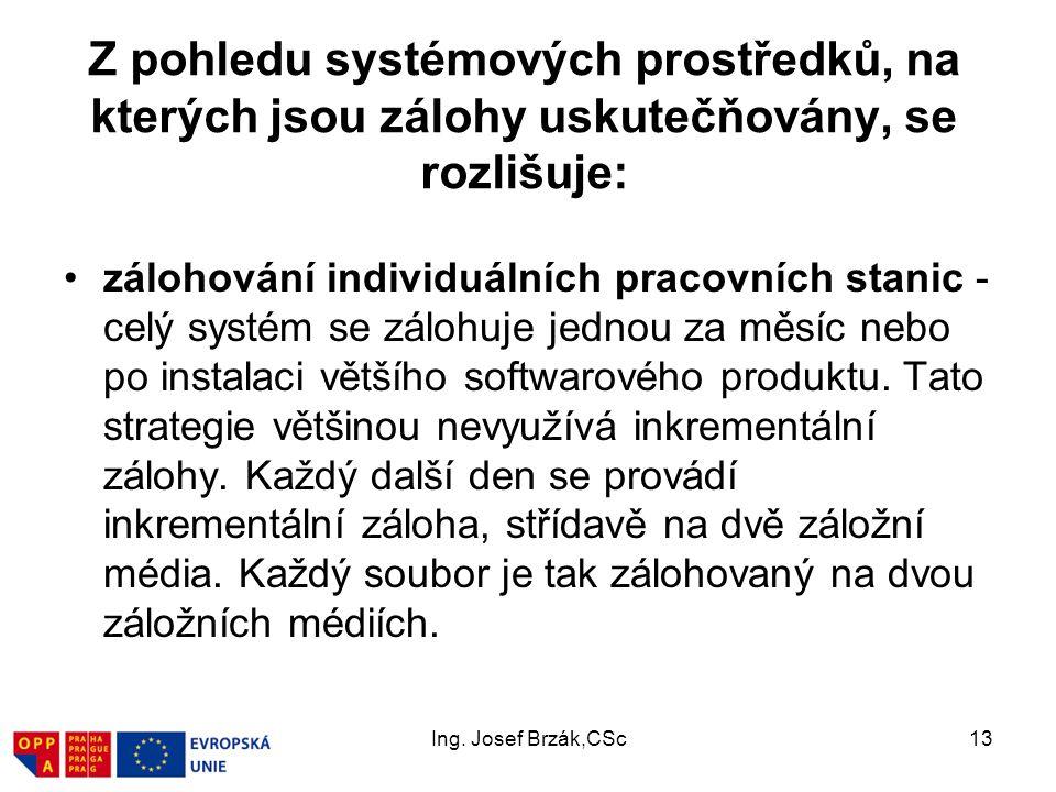 Ing. Josef Brzák,CSc13 Z pohledu systémových prostředků, na kterých jsou zálohy uskutečňovány, se rozlišuje: zálohování individuálních pracovních stan