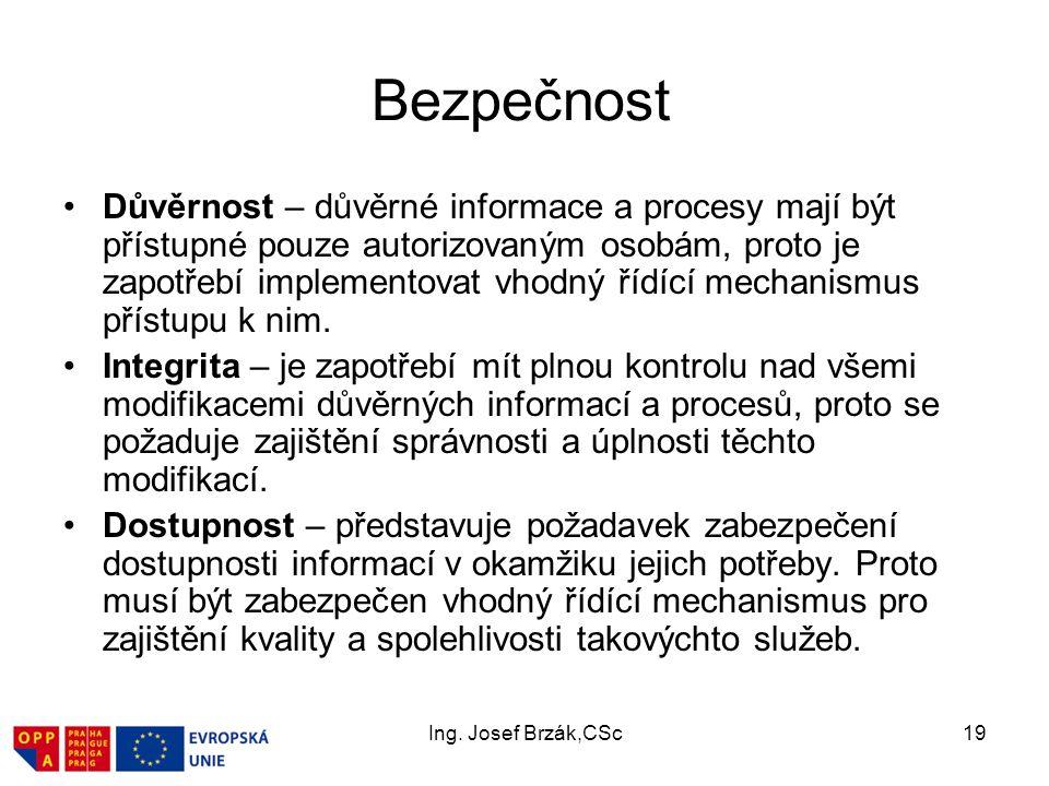 Ing. Josef Brzák,CSc19 Bezpečnost Důvěrnost – důvěrné informace a procesy mají být přístupné pouze autorizovaným osobám, proto je zapotřebí implemento