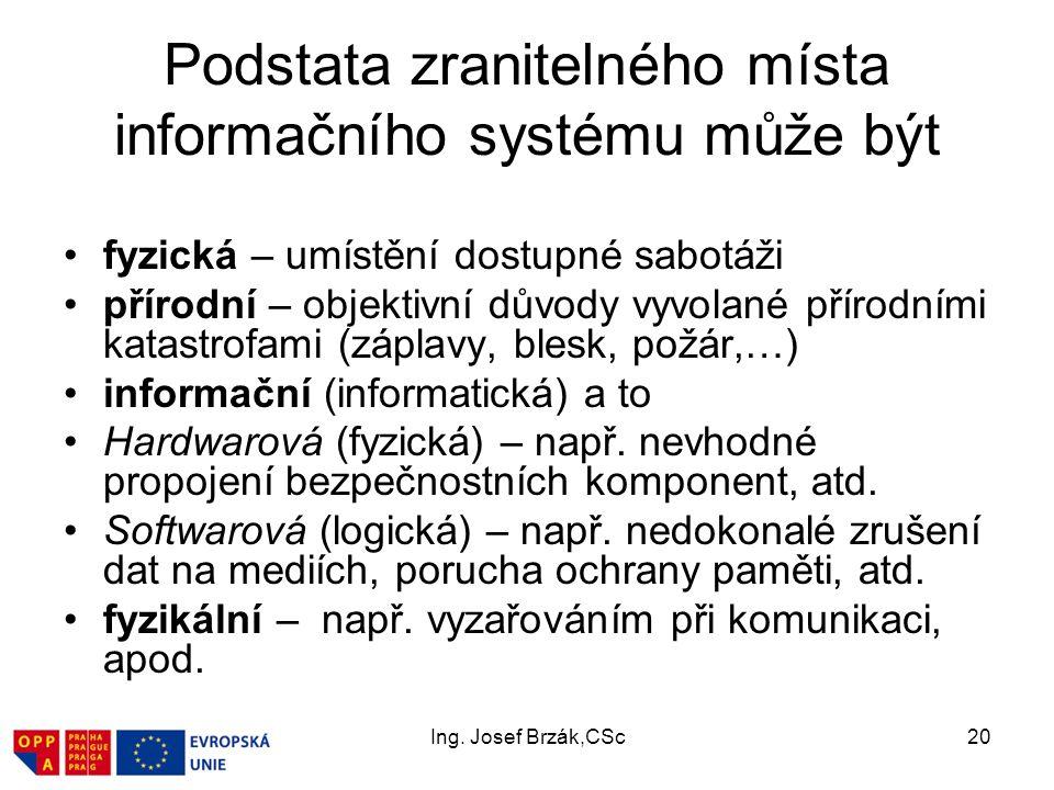 Ing. Josef Brzák,CSc20 Podstata zranitelného místa informačního systému může být fyzická – umístění dostupné sabotáži přírodní – objektivní důvody vyv