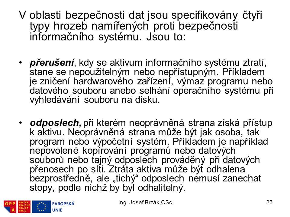 Ing. Josef Brzák,CSc23 V oblasti bezpečnosti dat jsou specifikovány čtyři typy hrozeb namířených proti bezpečnosti informačního systému. Jsou to: přer