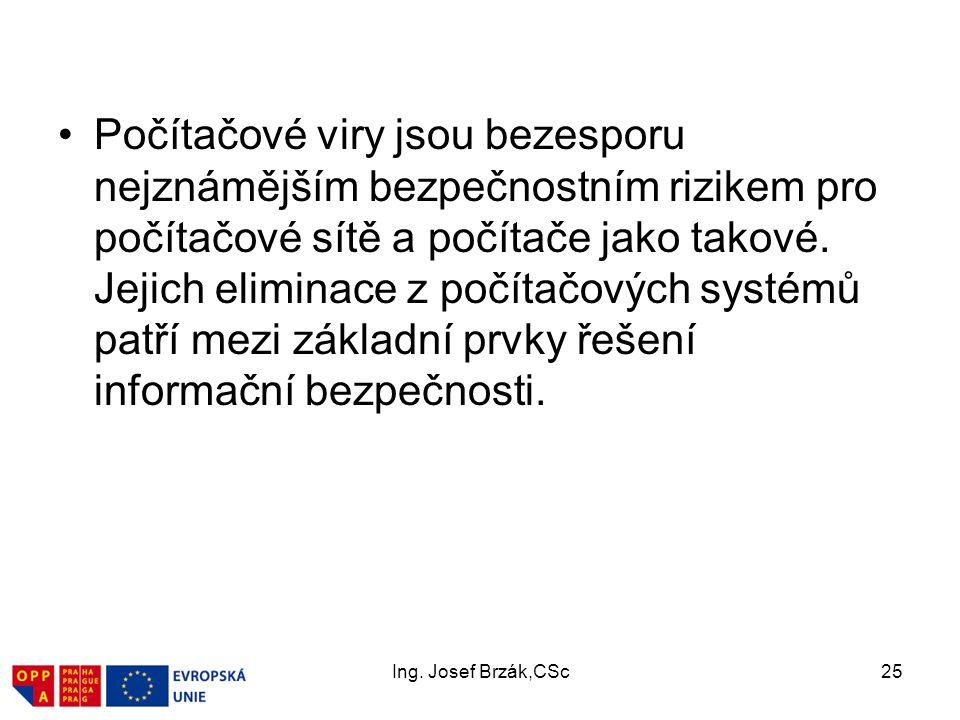 Ing. Josef Brzák,CSc25 Počítačové viry jsou bezesporu nejznámějším bezpečnostním rizikem pro počítačové sítě a počítače jako takové. Jejich eliminace